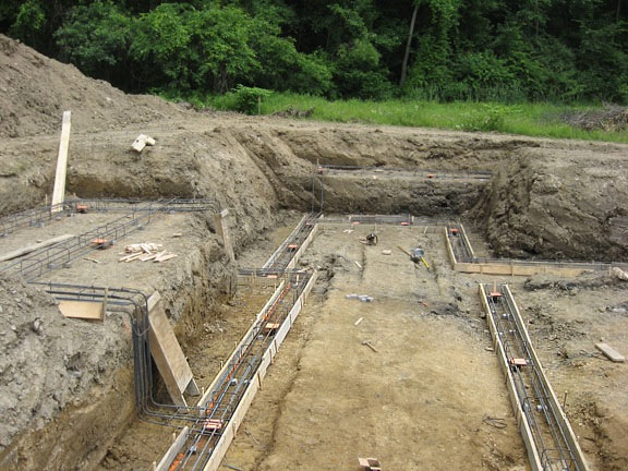 New Construction Piles Rebar Complete And Ready For